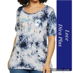 Navy & White Tie Dyed Top w/Words Love